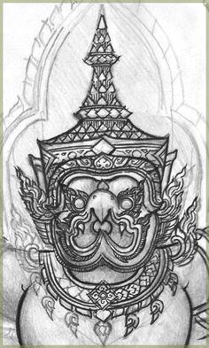 Garuda's face drawing