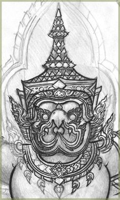 Garuda's face drawing