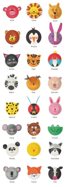 Basteln: Witzige Tiermasken aus Papptellern (DIY) Animal masks out from paper plates Paper Plate Animal Masks, Paper Plate Art, Paper Plate Crafts, Animal Masks For Kids, Craft With Paper Plates, Animal Plates, Paper Animals, Toddler Crafts, Preschool Crafts