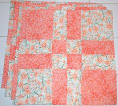 Tangerine Dreams Quilt Square 4pc Placemat Set by ColdStreamCrafts