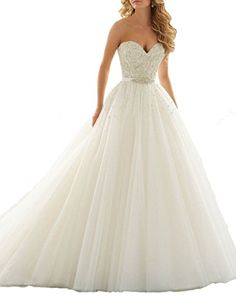 ScelleBridal 2016 Seeetheart Strapless Ball Gowns Beading Wedding Dresses Bridal Gowns -- Continue to the product at the image link.