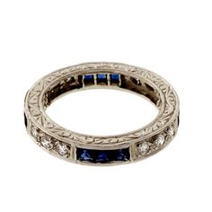 French Cut Sapphire Round Diamond Platinum Antique Style PSD Eternity Band Ring