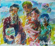 Aquarelle painting of farmer family in northern Jutland