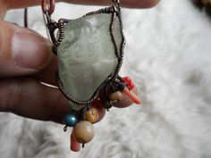 Sea glass necklace Wire wrapped Leather Pearls by ImWiredJewelry