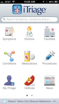 iTriage App suggested by Jules on last weeks show.  iTriage allows you to record a full range of symptoms, procedures, doctors, and medications. It also allows you to track appointments and look up symptoms. You can read news and link to services that allow you to securely store your medical records.