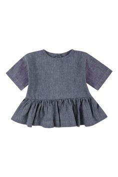 YELLOW PELOTA Blue Linen Lady Blouse | petitfauve.com