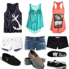 Summer outfits!! I love them all! I just love the toms with tanks and shorts! ☺️