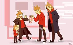 """What's with all the tords.im just trying to say that they meet thereselvs in different universes and tomsworld tord is pretty surprised that his so called """"clones"""" read hentei and if I didn't spell it right tell me and correct me plz"""