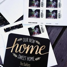 Home Sweet Home - Moving Announcements and matching postage stamps by Move On Up, Moving Announcements, Awesome Designs, Northern California, Postage Stamps, Hand Stamped, Helpful Hints, Envelope, Sweet Home