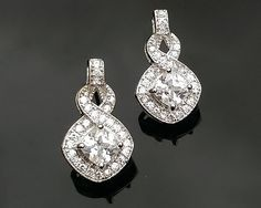 2014 Collection *Princess-Cut Crystal Drop Earrings, Windsor | The Wedding Hair Accessory and Bridal Jewellery Experts. Jules Bridal Jewellery