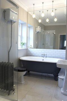 💖 95 beautiful roll top bath bathroom design models of 34 Loft Bathroom, Upstairs Bathrooms, Downstairs Bathroom, Bathroom Wall, Bathroom Cabinets, Bathroom Vanities, Half Bathrooms, Bathroom Marble, Remodel Bathroom