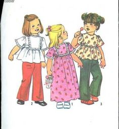 Sewing Patterns Vintage 1970s Simplicity 7196 Toddler Girls Smock Top Dress Pants Set size 2 Patterns for Children by SewMrsP