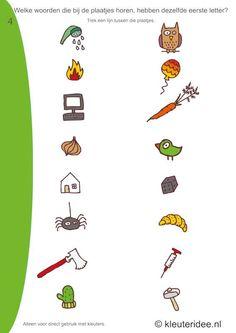 Welke woorden van de plaatjes hebben dezelfde beginletter 4 , kleuteridee.nl, free printable.