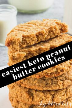 These Flourless Peanut Butter Cookies are made of only 4 simple, healthy ingredients but taste just like the cookies you remember from your childhood. Low-carb, keto and entirely gluten-free, this delicious snack can be whipped up and baked in just under 20 minutes, using only one bowl. Flourless Peanut Butter Cookies, Healthy Peanut Butter, Peanut Butter Cookie Recipe, Peanut Butter Recipes, Almond Recipes, Low Carb Recipes, Paleo Recipes, Free Recipes, Sugar Free Cookie Recipes