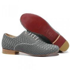 Christian Louboutin Alfredo Womens Flat Shoes Grey Python Red Bottom Shoes $175.00