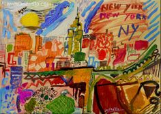 "N E W   Y O R K   Jose Manuel Merello.-  ""New York colors.""  Mix media on table.  Contemporary Art. Spain Art. http://www.merello.com"