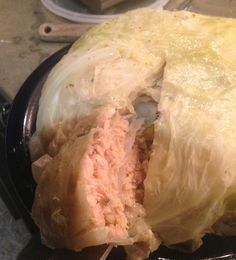Having so many cabbages maturing on the rooftop farm some new recipes need to be explored. Here is a twist on a traditional french recipe for Choux farce au Saumon / Salmon stuffed Cabbage.