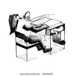 People sitting working desk. There are vultures with snakes around them. Symbols of exploitation of colleagues. vector illustration hand drawing. tattoo design. alone in the office.