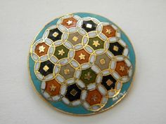 Antique Enamel Metal Button Brass Victorian French Cloisonne Champleve Flower | eBay