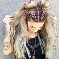 Rose gold hair color. Braided, half up do