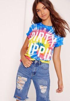 Tye Dye Dirty Hippie Slogan T Shirt Multi