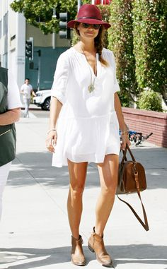 Stacy Keibler.. BCBGMAXAZRIA Lauryn Peasant Dress, Anine Bing Bohemian Hat, and Saint Laurent Classic Duffel..