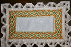 Colorful Bargello framed with traditional white Hadanger