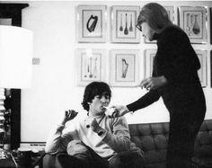 John Lennon and Cynthia Powell-Lennon (Cynthia lighting John's cigarette)