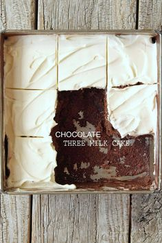 Milk and Honey: Chocolate Three Milk Cake I made this the other day and will not make it again, although the frosting was the bomb. The chocolate cake part was not good. Cupcakes, Cupcake Cakes, 13 Desserts, Chocolate Desserts, Chocolate Cake, Baking Recipes, Cake Recipes, Dessert Recipes, Three Milk Cake