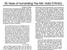 50 Years of Humanizing the Arts: Victor D'Amico Page 4 of Roundtable Reports, Vol. 5, No. 2, Children in Museums, 1980
