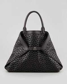 Ai Laser-Cut Leather Medium Tote, Black by Akris at Bergdorf Goodman.