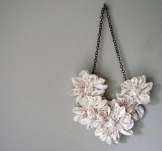 Handmade Fabric Bib Statement Necklace: Made-to-order.  Hand-sculpted ruffled flowers.  Beautiful work from Autumn Davidson.  Peek in her Etsy shop: http://www.etsy.com/shop/AutumnArt