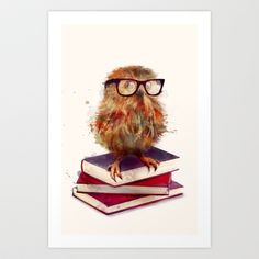 Smart Owl Art Print by Amy Hamilton - $17.00