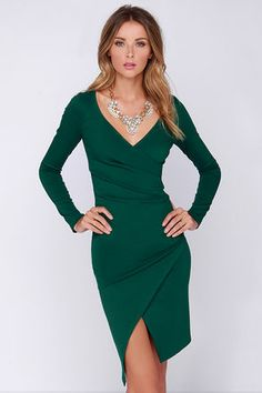 Exclusive Shakedown Forest Green Long Sleeve Midi Dress