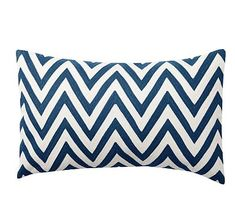 """Chevron Embroidered Lumbar Pillow Cover, 16 x 26"""", Twilight Blue"""
