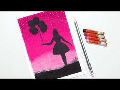 Girl with Balloons Drawing for Beginners with Oil Pastels - step by step - YouTube