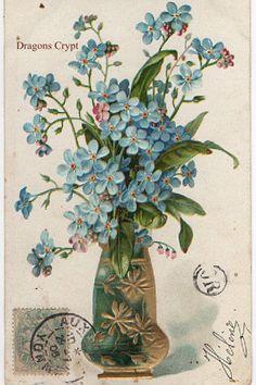 Carte postale ancienne en relief   Fleurs bleues   Vase   1906
