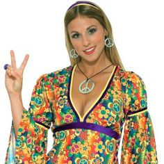 Donna Groovy Anni/'70 Lady Pants-Onde Costume 60s 70s Hippy Mod Travestimento