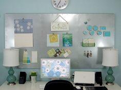 magnetic board above desk