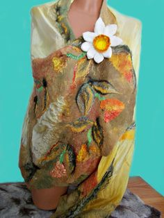 Colorful Blanket wrap / Wool vest Merino scarf by FeltWorld51