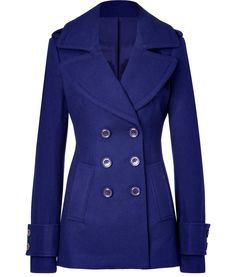 Electric blue will be big this spring, why not keep warm with this gorgeous pea coat?
