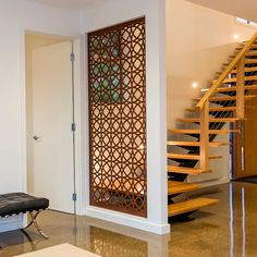 All screens are uniquely designed and laser cut right here at Lump Sculpture Studio by our highly skilled fabrication team Home Room Design, Interior, Home Stairs Design, Home, Apartment Interior, House Interior, Living Room Partition Design, Home Interior Design, Living Room Designs