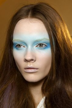 Valentino ss 2010 - Ghostly white faces with bands of color. for our looks Eye Makeup, Runway Makeup, Airbrush Makeup, Makeup Art, Beauty Makeup, Hair Makeup, White Face Makeup, Futuristic Makeup, Couture Makeup