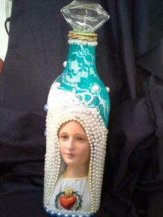 Nossa senhora decoração com garrafa