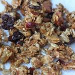 Very Clumpy Granola (1 1/3c oats, 1/4c sunflower seeds, 1/2c almonds, 2tbs wheat germ, 1/4c shredded coconut, 1/4c honey, 2tbs brown sugar, 1 1/2tbs oil, vanilla, 3oz dried fruit, salt)