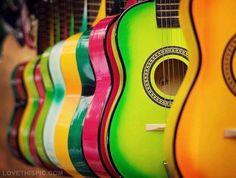 Colorful Acoustic Guitars music colorful rainbow guitar acoustic!!! Bebe'!!!Love these rainbow acoustic guitars!!!
