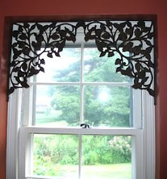Use decorative shelf brackets in upper corners of a window or doorway. For your windows that you don't want to hide with curtains. - Decoration for House Casa Steampunk, Window Dressings, My New Room, Window Coverings, Small Window Treatments, Kitchen Window Treatments With Blinds, Bedroom Window Treatments, Victorian Window Treatments, Home Projects
