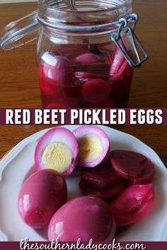 Red Beet Pickled Eggs - The Southern Lady Cooks Pickled Red Beet Eggs Recipe, Best Pickled Eggs, Spicy Pickled Eggs, Easy Recipe For Pickled Eggs, Canning Pickled Beets, Recipe For Red Beet Eggs, Pickle Egg Recipe, How To Pickle Eggs, Canned Beets Recipe