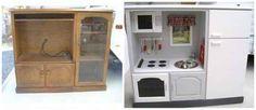 Transformez un vieux meuble télé en une cuisinière de rêve pour les enfants.