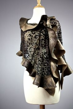 Nuno felted scarf , silk Devore and Merino wool, handdyed , Chocolate , Brown, shawl , wrap